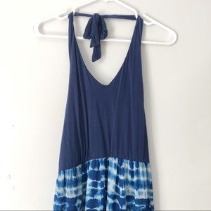Lily Rose Blue Tie Dye Halter Maxi Dress